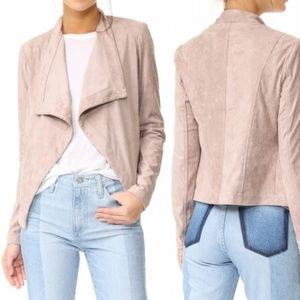 BB Dakota Blush Pink Drape Faux Suede Crop Jacket